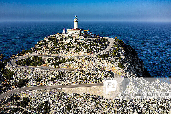 Aerial of the lighthouse at the Cap de Formentor  Mallorca  Balearic Islands  Spain  Mediterranean  Europe