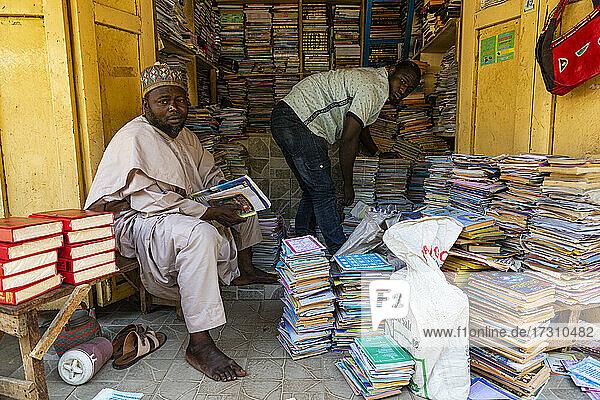 Bookshop in the bazaar  Kano  Kano state  Nigeria  West Africa  Africa