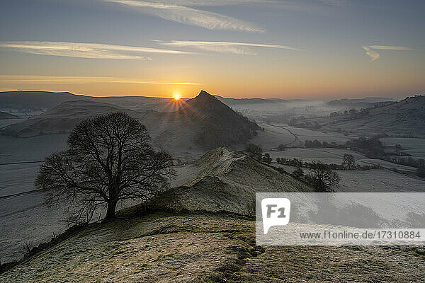 Sunrise at Chrome Hill in The Peak District  Derbyshire  England  United Kingdom  Europe