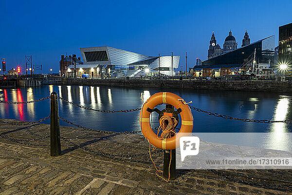 The Museum of Liverpool at night  Liverpool  Merseyside  England  United Kingdom  Europe