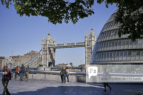 Tower Bridge with City Hall in the foreground  London  England  Great Britain