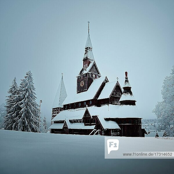 Snow and Stave Church Hahnenklee in winter  Golar  Harz National Park  Lower Saxony  Germany  Europe Snow and Stave Church Hahnenklee in winter, Golar, Harz National Park, Lower Saxony, Germany, Europe