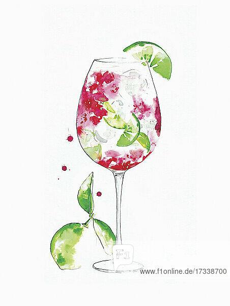Aquarell eines Rosé-Cocktails mit Basilikum und Limette