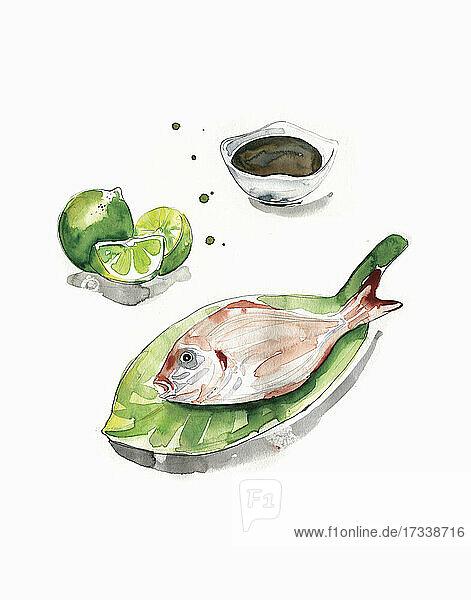 Aquarell von Red Snapper Fisch auf Blatt Teller