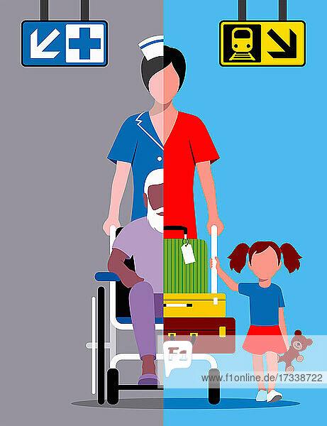 Geteilter Bildschirm: Krankenschwester arbeitet und fährt in den Urlaub