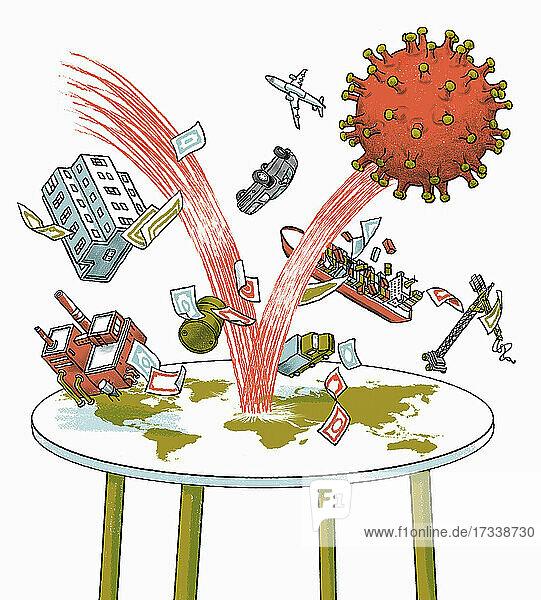 Auswirkungen des Coronavirus ruinieren die Weltwirtschaft