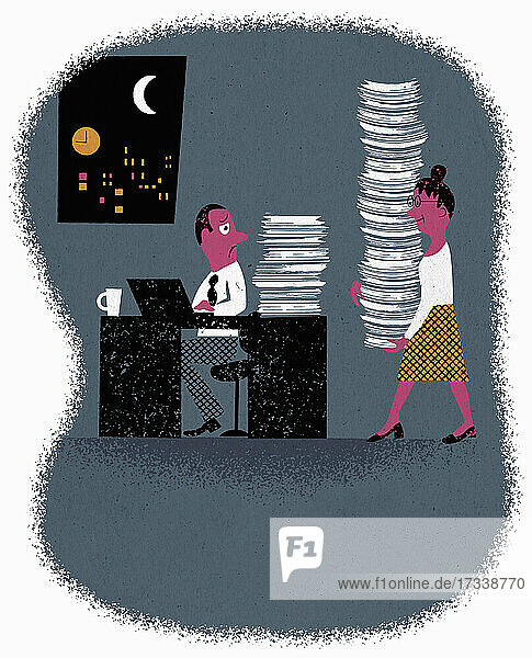 Frau bringt einem überlasteten Kollegen einen großen Stapel Papierkram