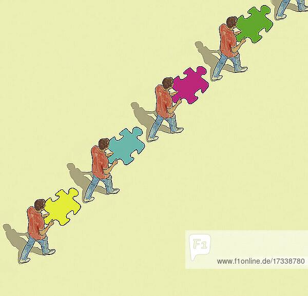 Reihe von Männern  die Puzzlestücke tragen