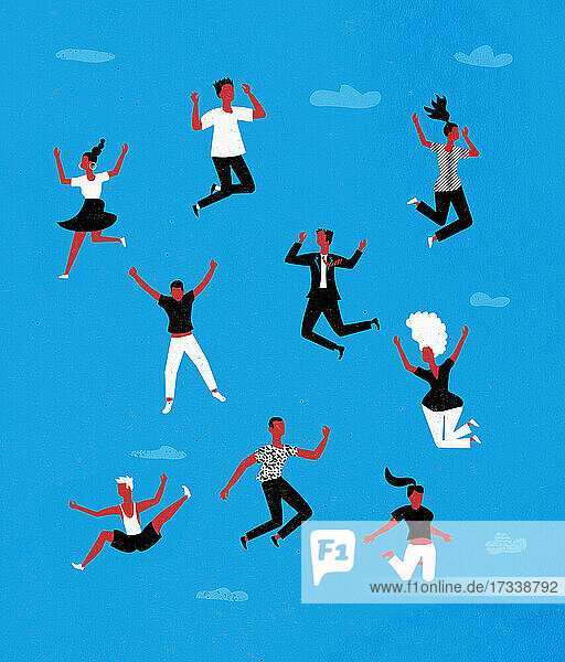 Menschen springen vor Freude in den Himmel