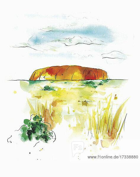 Aquarell des Uluru  Australien
