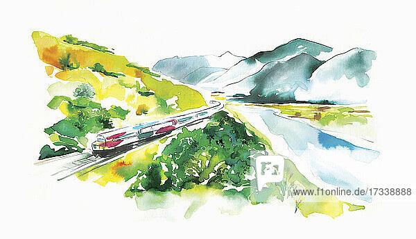Zugfahrt durch ein malerisches Tal in Neuseeland