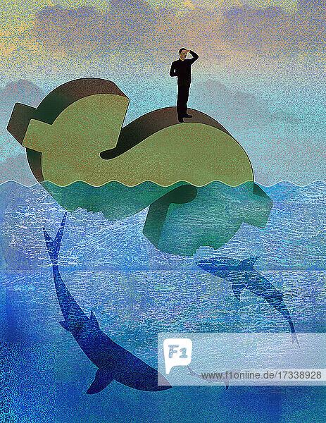 Haie umkreisen Geschäftsmann auf sinkendem Dollar