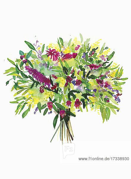 Aquarell eines Blumenstraußes