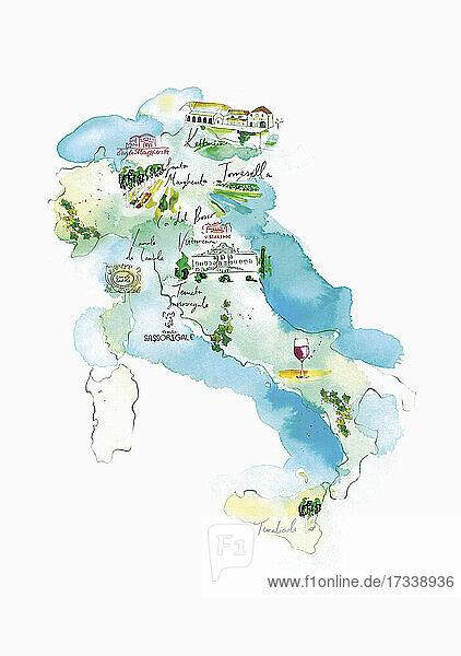 Illustrierte Karte der italienischen Weinkellereien