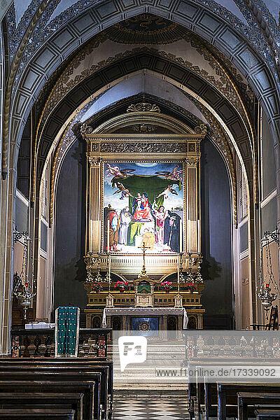 Italien  Lombardei  Bergamo  Kirche S. Bernardino  Altar mit Malerei von Lorenzo Lotto