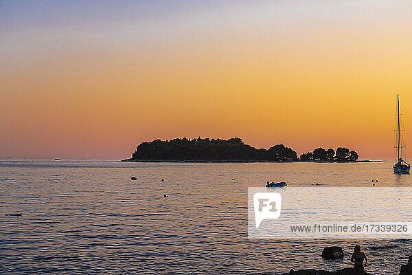 Croatia  Istria  Rovinj  Sea at sunset