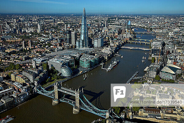 UK  London  Aerial view of cityscape and River Thames