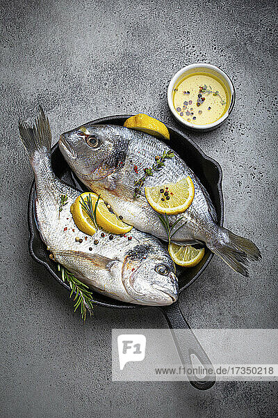 Rohe frische Seebrassen mit Zitrone  Kräutern und Gewürzen in der Pfanne