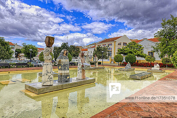 Square Al Muthamid with fountains and modern sculptures  Silves  Algarve  Portugal  Europe