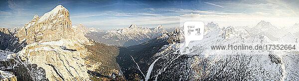 Aerial view of Tofana di Rozes  Sorapiss  Antelao  Pelmo  Nuvolau and Civetta peaks at sunset  Dolomites  Veneto  Italy  Europe