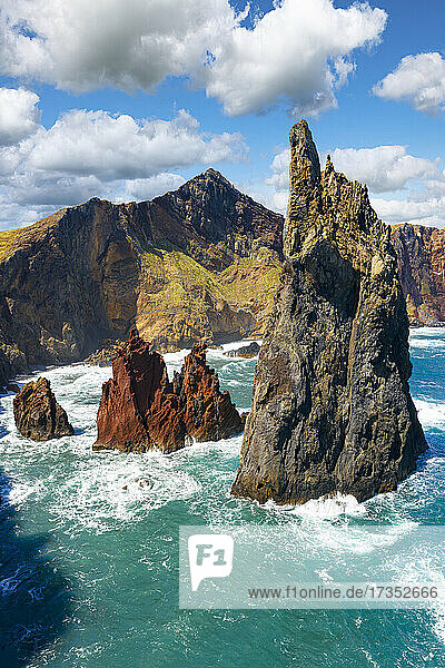 Majestic pinnacle of sea stack rock hit by waves  Sao Lourenco viewpoint  Canical  Madeira island  Portugal  Atlantic  Europe