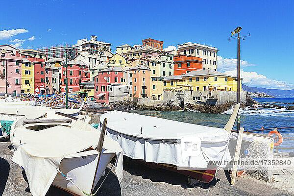 View of the fishing village of Boccadasse  Genoa  Liguria  Italy  Europe