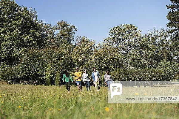 Glückliche junge Freunde spazieren durch eine Wiese in einem öffentlichen Park
