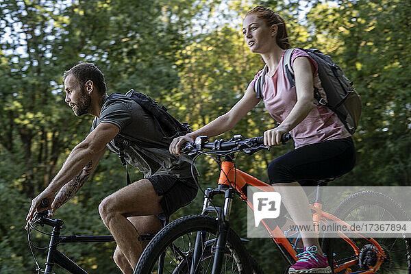 Junges Paar fährt Fahrrad im Wald