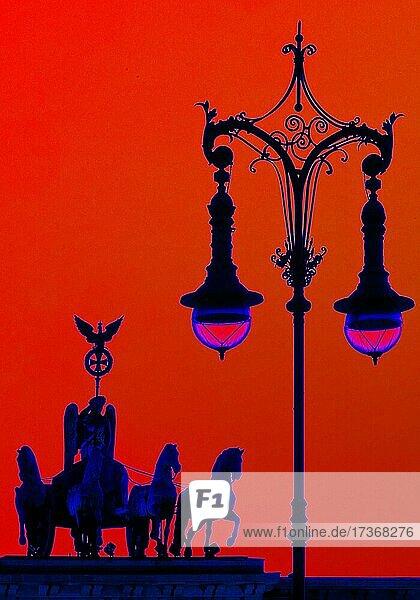Experimental photography based on the Quadriga on the Brandenburg Gate with old Berlin gas lantern  Pariser Platz  Berlin  Germany  Europe Experimental photography based on the Quadriga on the Brandenburg Gate with old Berlin gas lantern, Pariser Platz, Berlin, Germany, Europe