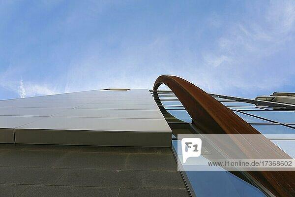 Venet-Haus  the 37-metre-high sculpture by Bernar Venet made of corroded Cortenstah  is part of the building concept  art  modern architecture  Neu-Ulm  Bavaria  Germany  Europe Venet-Haus, the 37-metre-high sculpture by Bernar Venet made of corroded Cortenstah, is part of the building concept, art, modern architecture, Neu-Ulm, Bavaria, Germany, Europe