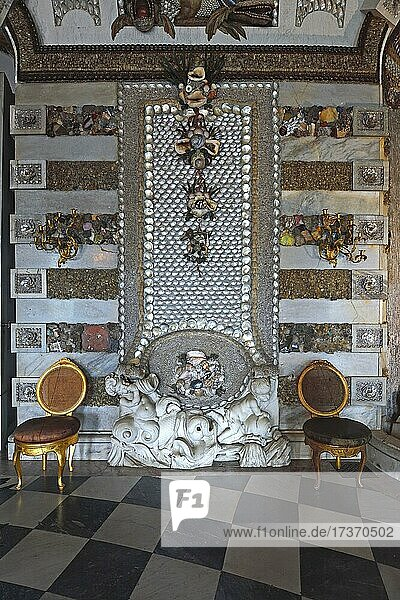 Grotto Hall  wall detail with shells and snail shells  Neues Palais  Park Sanssouci  Potsdam  Brandenburg  Germany  Europe