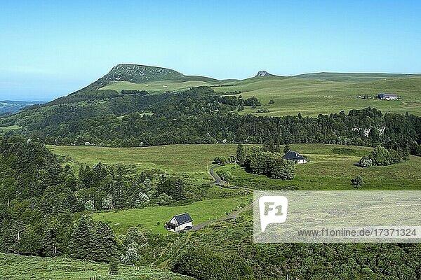 View on Banne d'Ordanche  Auvergne Volcanoes Regional Nature Park  Puy de Dome department  Auvergne Rhone Alpes  France  Europe