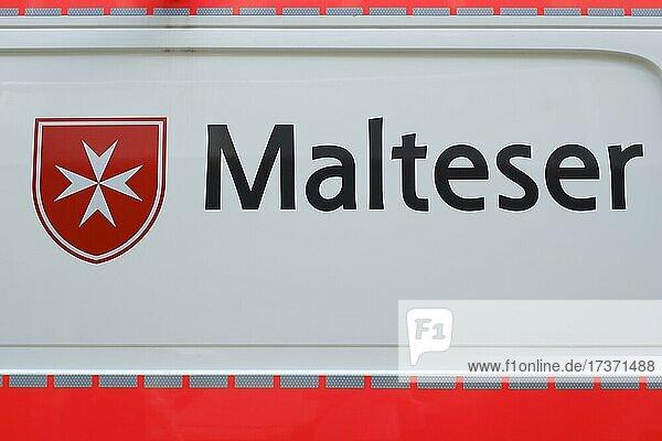 Malteser  Logo und Schrift der Hilfsorganisation  Nordrhein-Westfalen  Deutschland  Europa Malteser, Logo und Schrift der Hilfsorganisation, Nordrhein-Westfalen, Deutschland, Europa