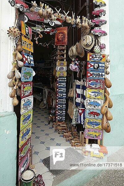 Entrance  souvenirs  souvenir shop with many colourful signs  Sancti Spiritus  Central Cuba  Sancti Spiritus Province  Caribbean  Cuba  Central America