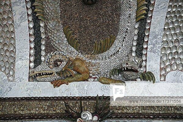 Grotto Hall  wall detail with seashells and snail seashells  Neues Palais  Sanssouci Palace  Potsdam  Brandenburg  Germany  Europe