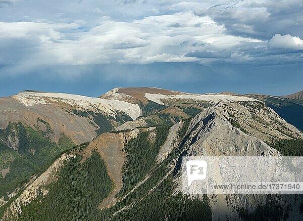Mountainous landscape with peaks  Mount Drinnan  peaks with orange sulphur deposits  panoramic view  Nikassin Range  near Miette Hotsprings  Sulphur Skyline  Jasper National Park  Alberta  Canada  North America
