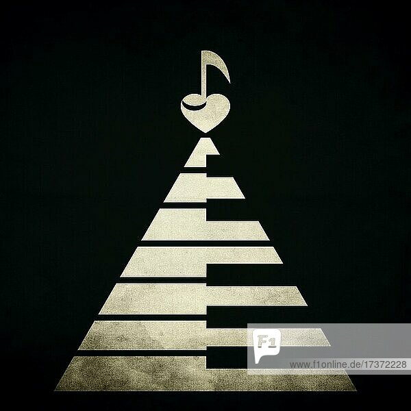 Piano keyboards in shape of a triangle or pyramid with a heart and musical note on the top. Old  vintage texture on black background