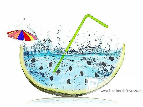 Abstrakte und surreale Wassermelone Scheibe mit Wasser spritzen statt der roten Zellstoff vor weißem Hintergrund. Sommerurlaub Konzept  Reisen  Urlaub und Erholung Symbol. Frische und süße Frucht Abstrakte und surreale Wassermelone Scheibe mit Wasser spritzen statt der roten Zellstoff vor weißem Hintergrund. Sommerurlaub Konzept, Reisen, Urlaub und Erholung Symbol. Frische und süße Frucht
