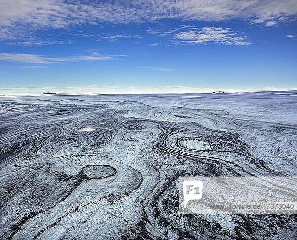Flugaufnahme Strukturen des Gletschers Vatnajökull  Austurland  Island  Europa Flugaufnahme Strukturen des Gletschers Vatnajökull, Austurland, Island, Europa