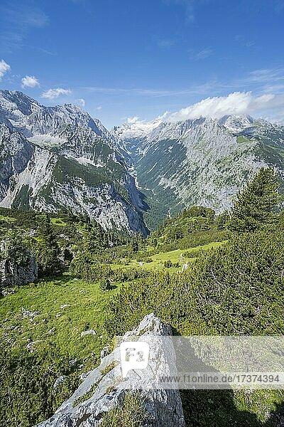 View into the Reintal valley  behind summit of the Zugspitze and Alpspitze with Zugspitzplatt  hiking trail to the Meilerhütte  Wetterstein Mountains  Garmisch Partenkirchen  Bavaria  Germany  Europe