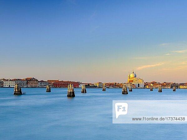 Church Chiesa del Santissimo Redentore on the Giudecca Canal at sunrise  Venice  Venezia  Veneto  Italy  Europe