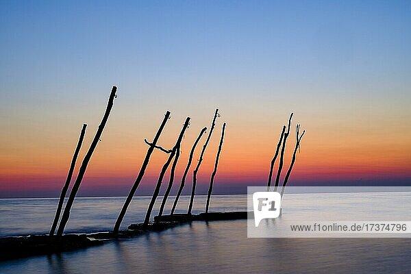 Wooden rack for hanging boats  dusk  Savudrija  Adriatic Sea  Istria  Croatia  Europe
