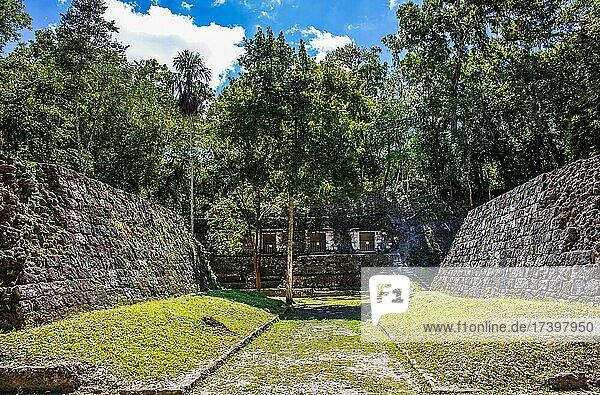 Ritual ball court  Yaxha  third largest Mayan ruined city  Yaxha  Guatemala  Central America
