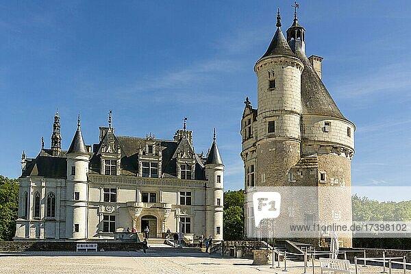 Marques Tower at Chateau de Chenonceau  Loire Valley  Indre et loire department  Centre-Val de Loire  France  Europe