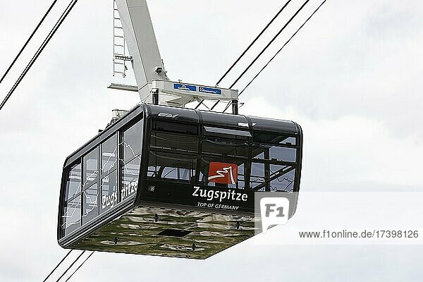 Gondola of the Zugspitze cable car  Grainau  Upper Bavaria  Bavaria  Germany  Europe