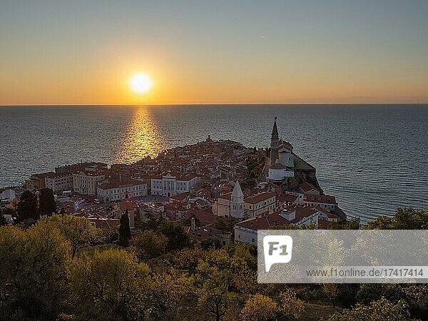 View of Piran from the fortress wall  sunset  Piran  Slovenia  Europe