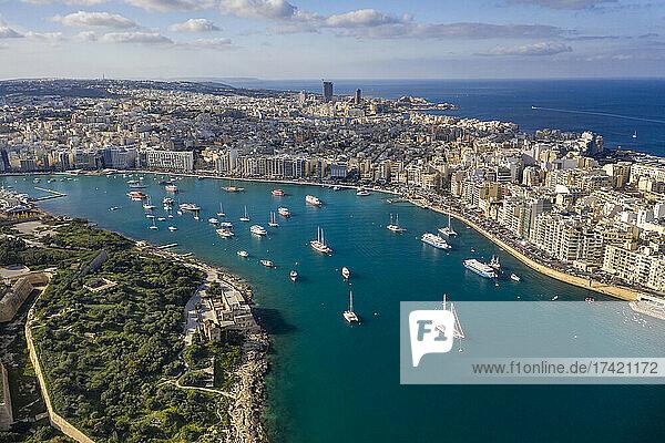 Malta  Central Region  Sliema  Aerial view of boats sailing around Manoel Island