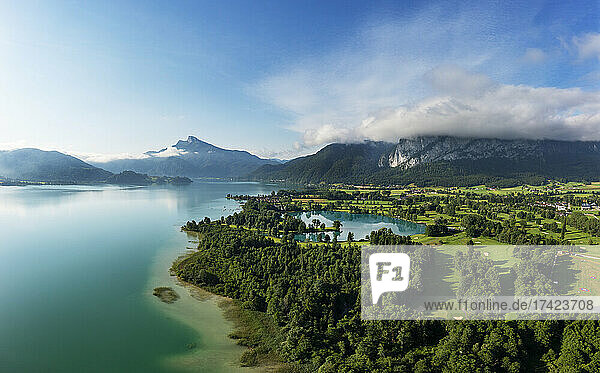 Drone view of golf course on shore ofMondseelake in summer