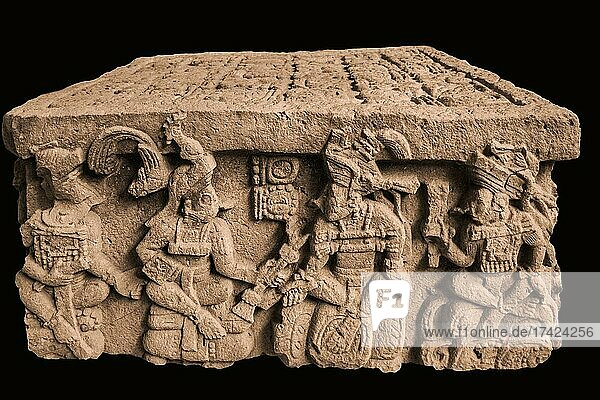 Yax Pasaj is presented with insignia of power by the founder of the dynasty Yax-Kuk-Mo'  Altar Q  original from the Sculpture Museum  Acropolis  West Plaza  Copan Ruins  Honduras  Central America