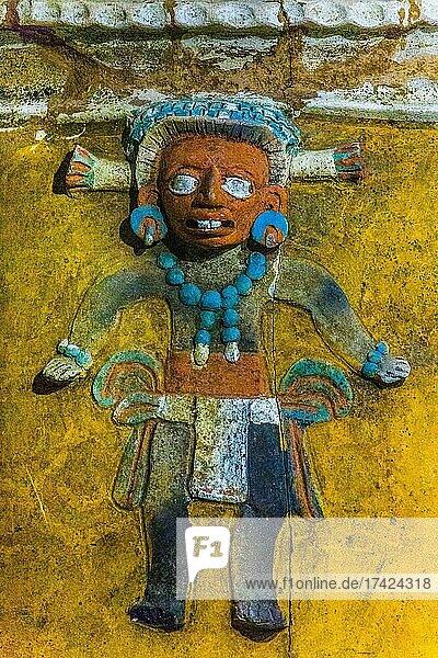 Burial urn with corn god  detail  Popol Vuh Museum  Guatemala City  Guatemala City  Guatemala  Central America
